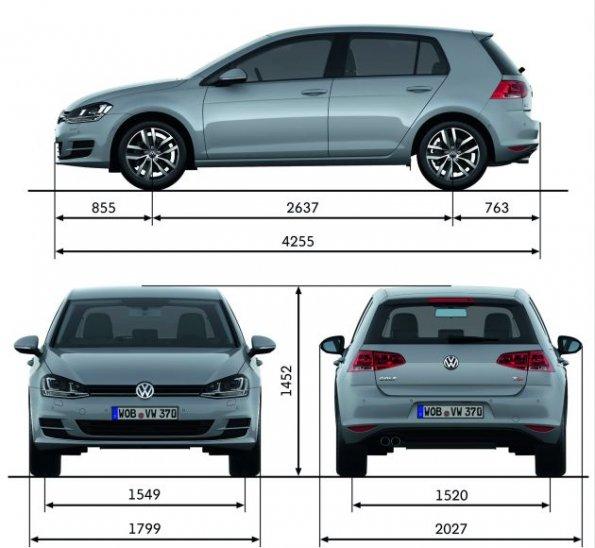 vw golf 7 die abmessungen des vw golf 7 schematisch dargestellt vw golf 7 wunschautos. Black Bedroom Furniture Sets. Home Design Ideas